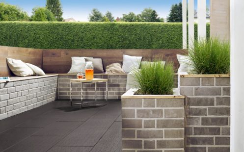 Terrace with penter kampen in grey and Terca WB-Line R104 brick slips