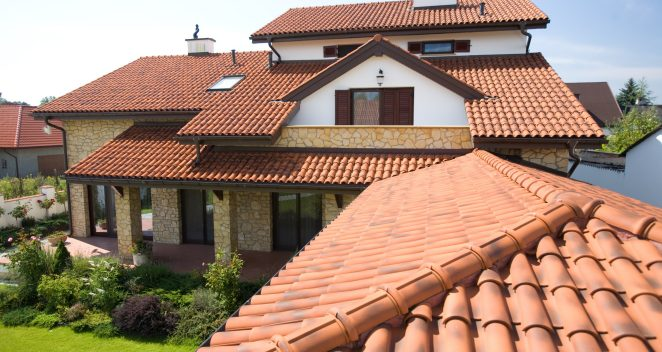 Single family house with monk and nun roof tile Poland